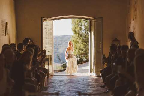 Bride entering church italy wedding