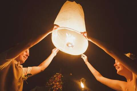 Lanterns on beach wedding